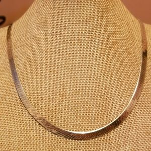 Signed Italy Sterling Silver Herringbone Necklace